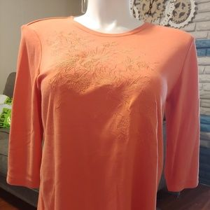 Salmon/orange embroidered blouse